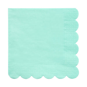 scalloped edge mint green napkin