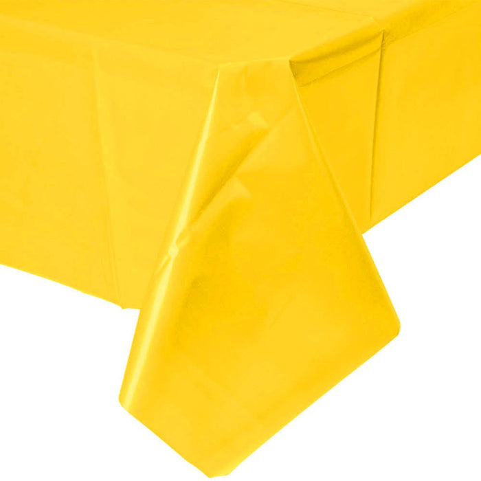 Solid Yellow Plastic Tablecloth