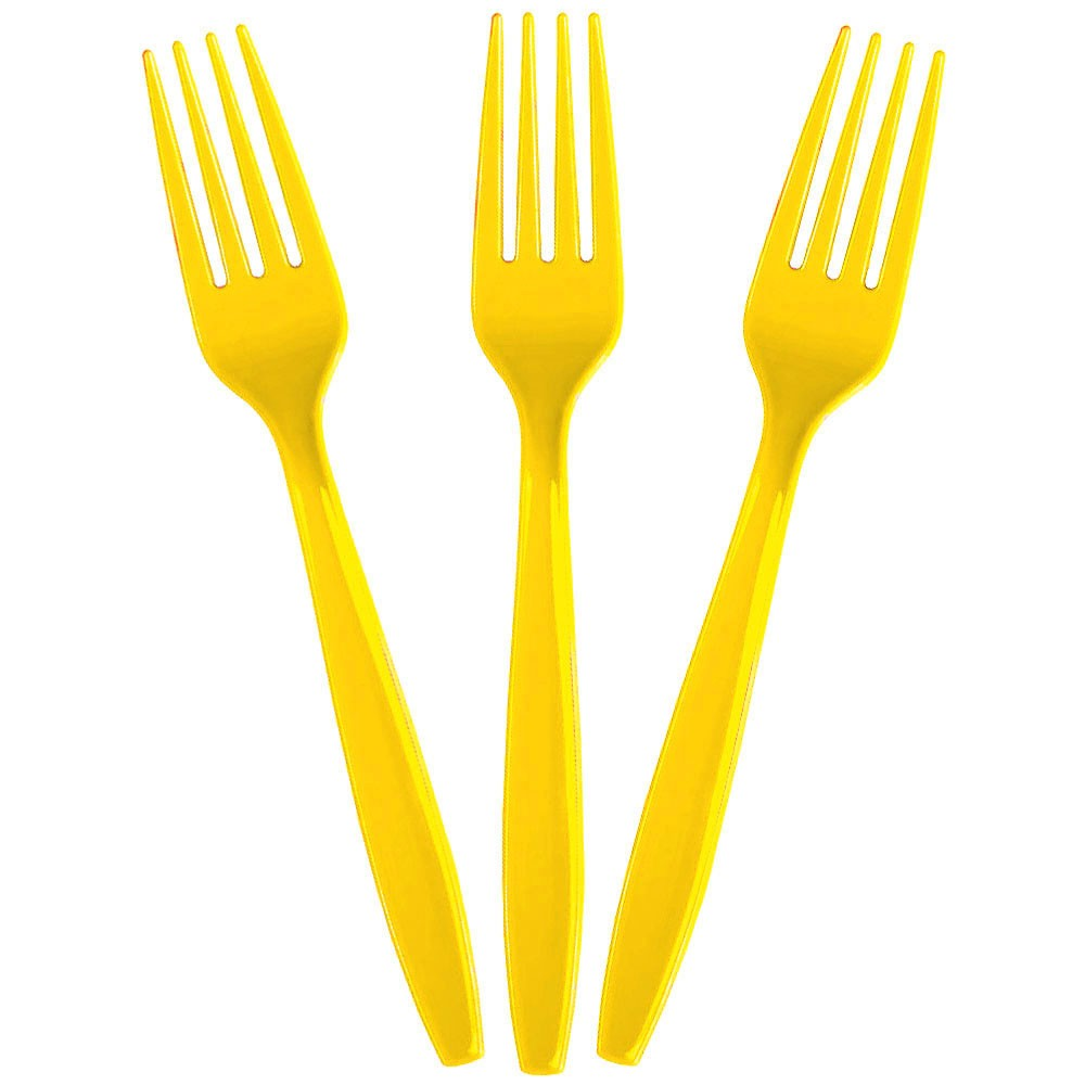 Yellow party plastic disposable forks
