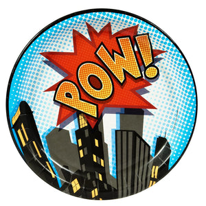 orange and blue, POW superhero party plates