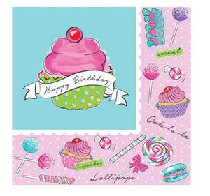 Pink and blue sweet treat candy party beverage napkins
