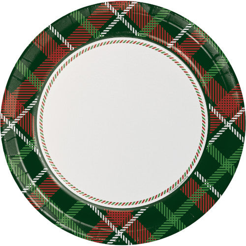 green & red holiday plaid paper plate features plaid border with white center