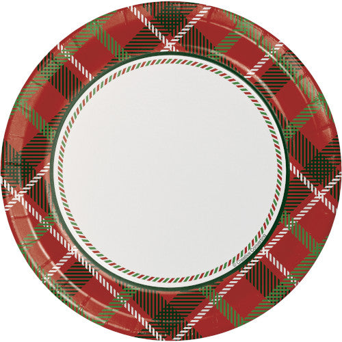 red and green classic tartan plain dessert plate