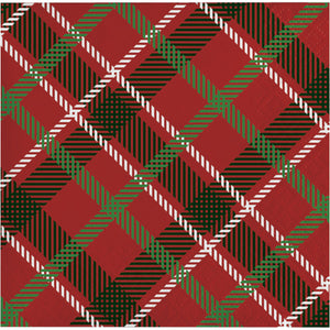 red white and green classic tartan plain beverage napkin