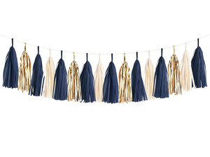 navy and gold tassel garland banner