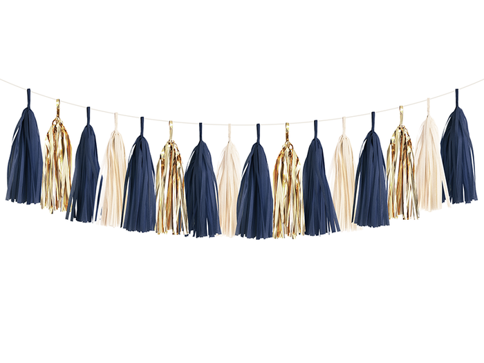 Navy & Gold Tissue Tassel Garland Kit