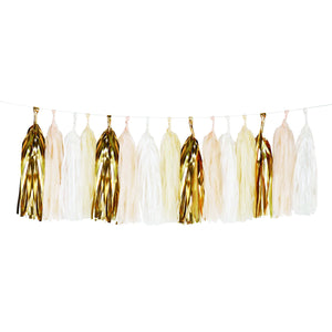 White and gold tissue paper tassel garland