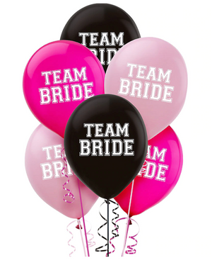 pink and black team bride latex balloon party pack