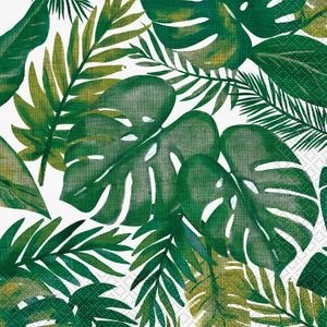 Green tropical palm napkins