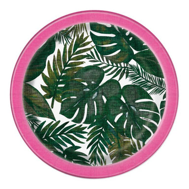 Green and pink tropical palm dessert plate
