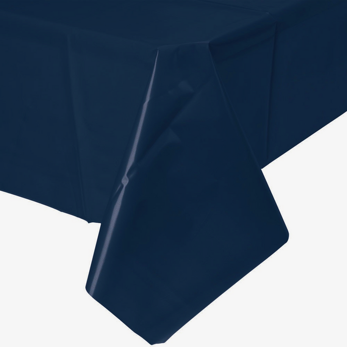 Solid Navy Blue Plastic Tablecloth