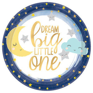 dream big little one plate features gold font on white plate with navy border and gold metallic star print
