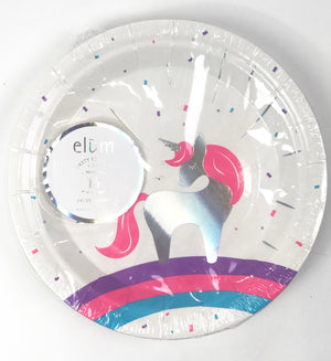unicorn party dessert plate, iridescent unicorn with purple, pink, and blue rainbow