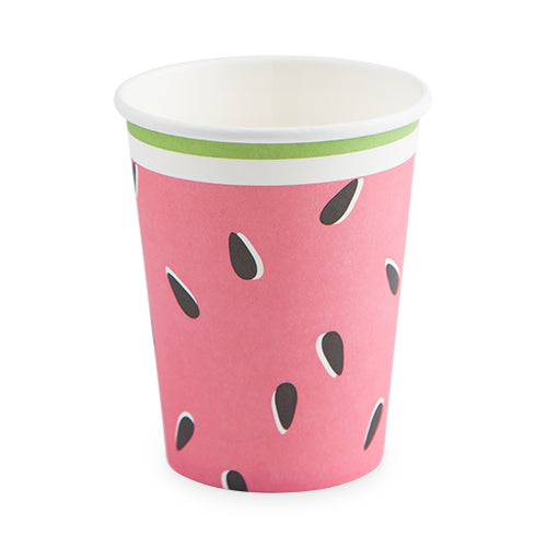 pink cup with watermelon seed print and green rim edge - watermelon party - summer party - picnic - 1st birthday