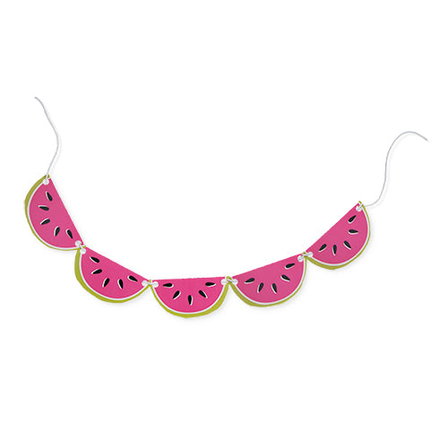 bright pink watermelon banner with 14 small watermelon slices strung together on 8ft of string