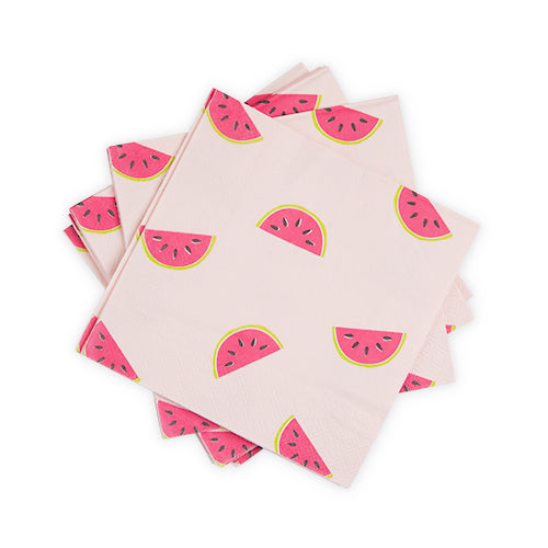 light pink napkin with bright pink watermelon all over print - summer party - fruit party - tuitti fruitti - 1st birthday