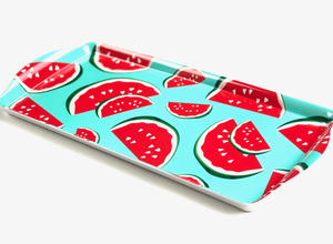 red and blue watermelon party serving tray