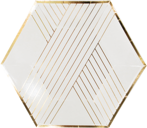 whitehexagon shaped dessert plate with gold metallic stripes on angles _harlow & grey party supplies