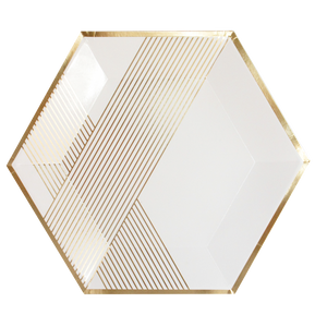 white hexagon shaped plate with gold metallic stripes on angles _harlow & grey party supplies