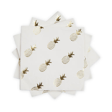 trendy white napkin with metallic gold pineapple print - summer party - fruit party - bachelorette party