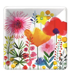 colorful watercolor flower party plate