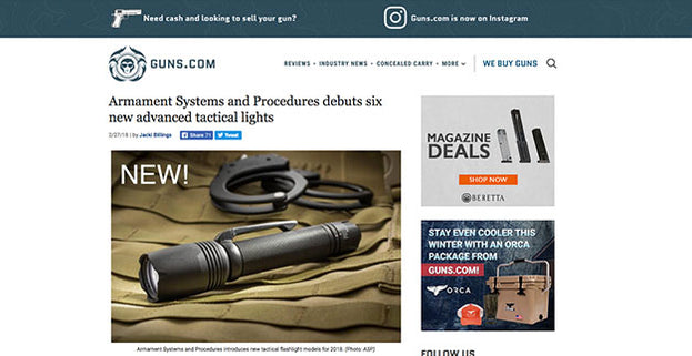 Guns.com: Armament Systems and Procedures debuts six new advanced tactical lights