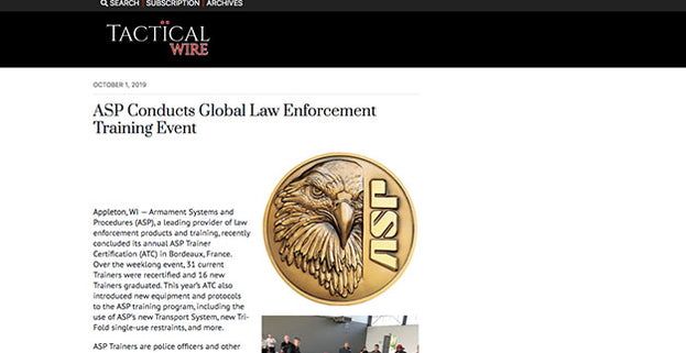 Tactical Wire: ASP Conducts Global Law Enforcement Training Event