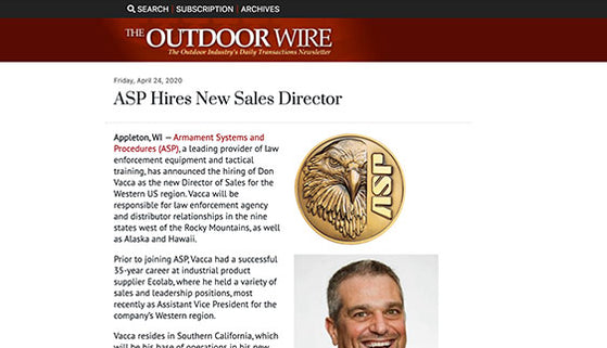 The Outdoor Wire: ASP Hires New Sales Director