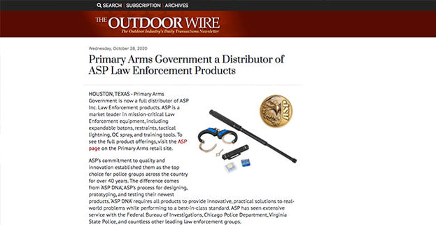 The Outdoor Wire: Primary Arms Government a Distributor of ASP Law Enforcement Products