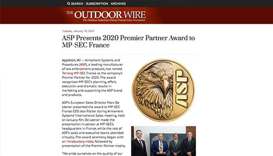 The Outdoor Wire: ASP Presents 2020 Premier Partner Award to MP-SEC France
