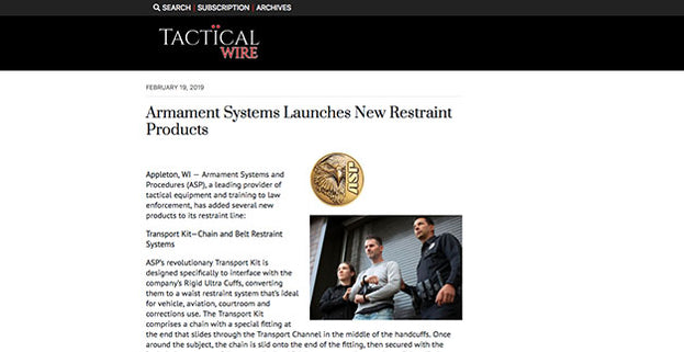 Tactical Wire: Armament Systems Launches New Restraint Products
