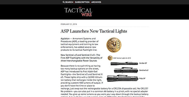 Tactical Wire: ASP Launches New Tactical Lights