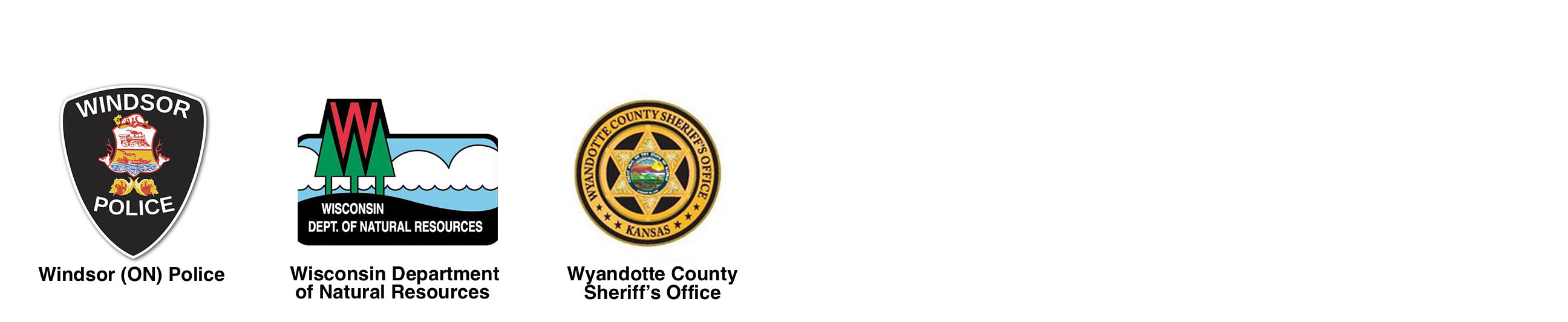 Windsor (ON) Police, Wisconsin Department of Natural Resources, Wyandotte County Sheriffs Office