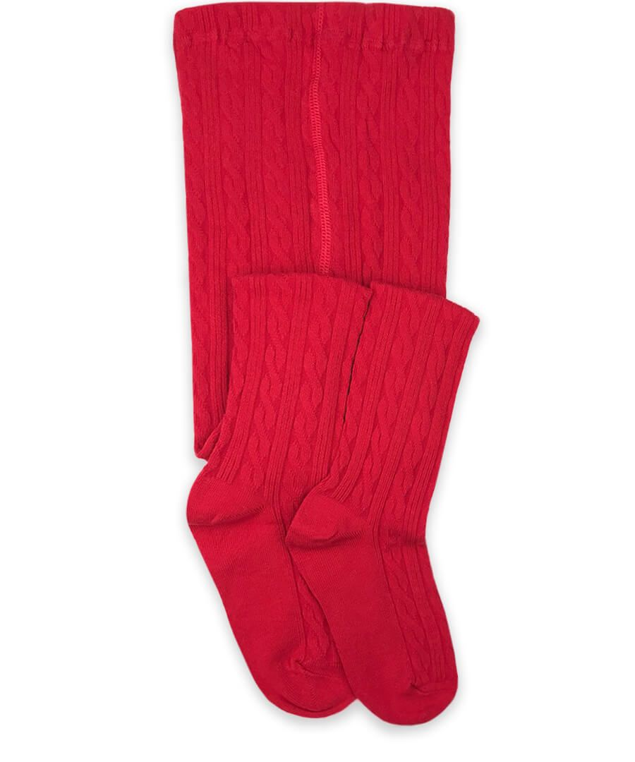 Jefferies Socks Red Cable Knit Tights