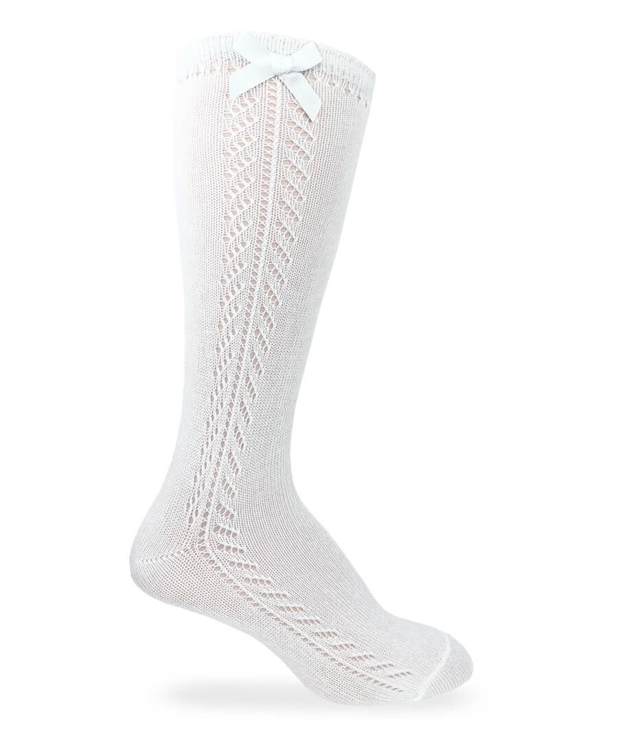 Pointelle Bow Knee High Socks - White