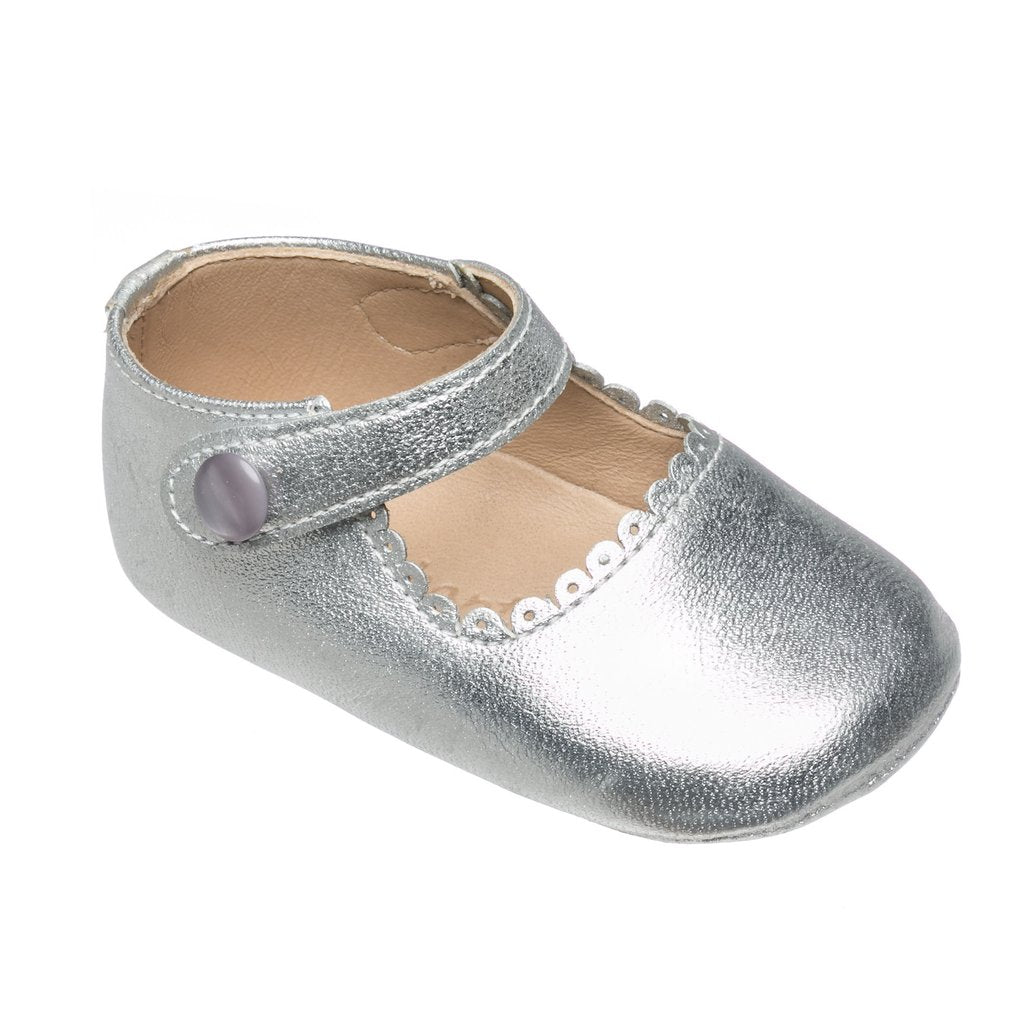 Silver Leather Mary Jane elephantito Baby Shoe