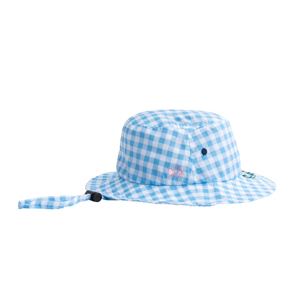 blue check bucket hat by prodoh