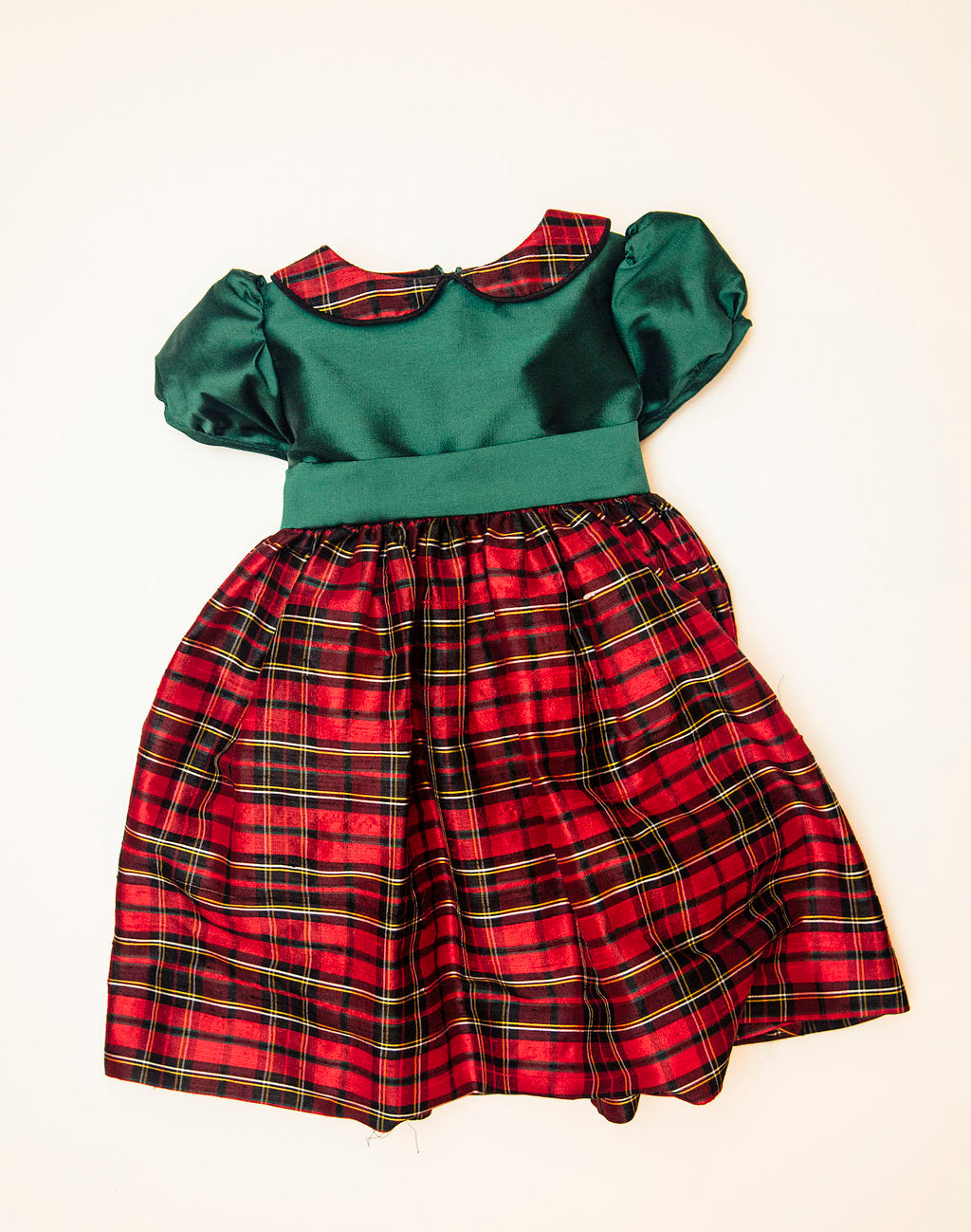 Green and Holiday Plaid Party Dress (12 Months through 5)