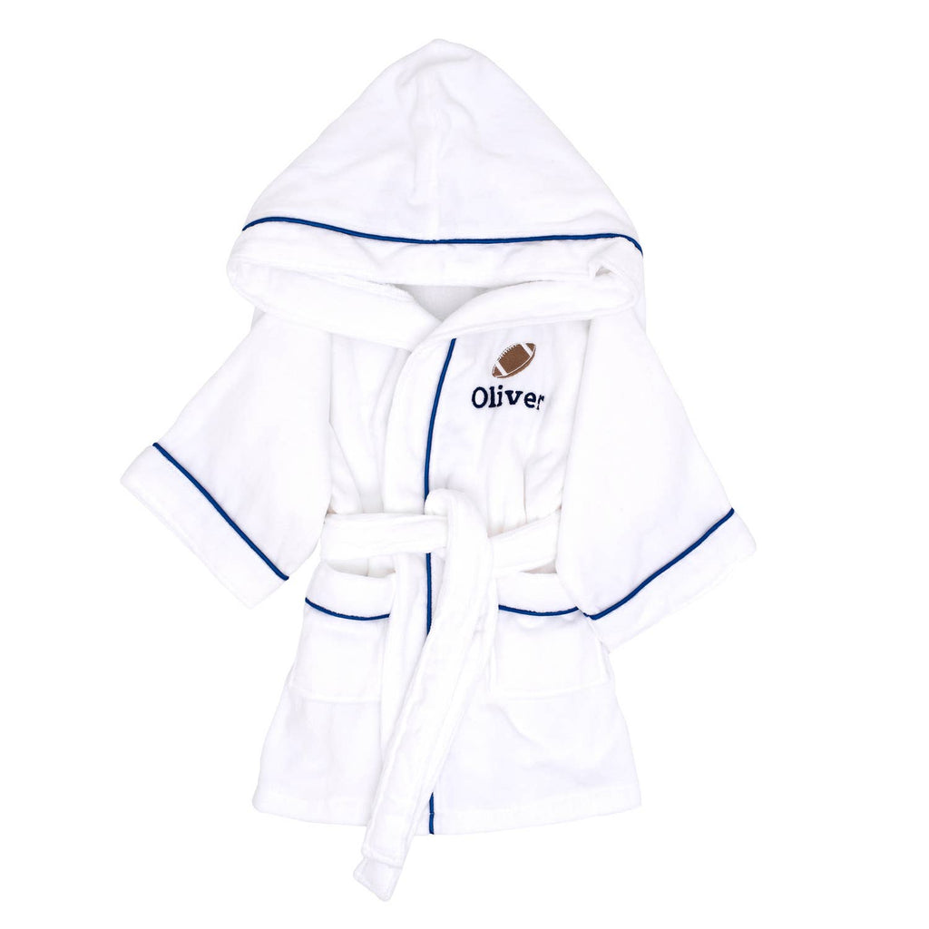 Children's Terry Cloth Hooded Robe - Blue Trim