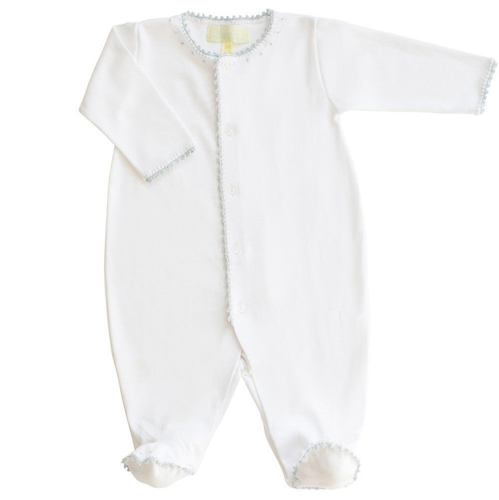 Pixie Lily Jersey Footy Romper With Blue Trim