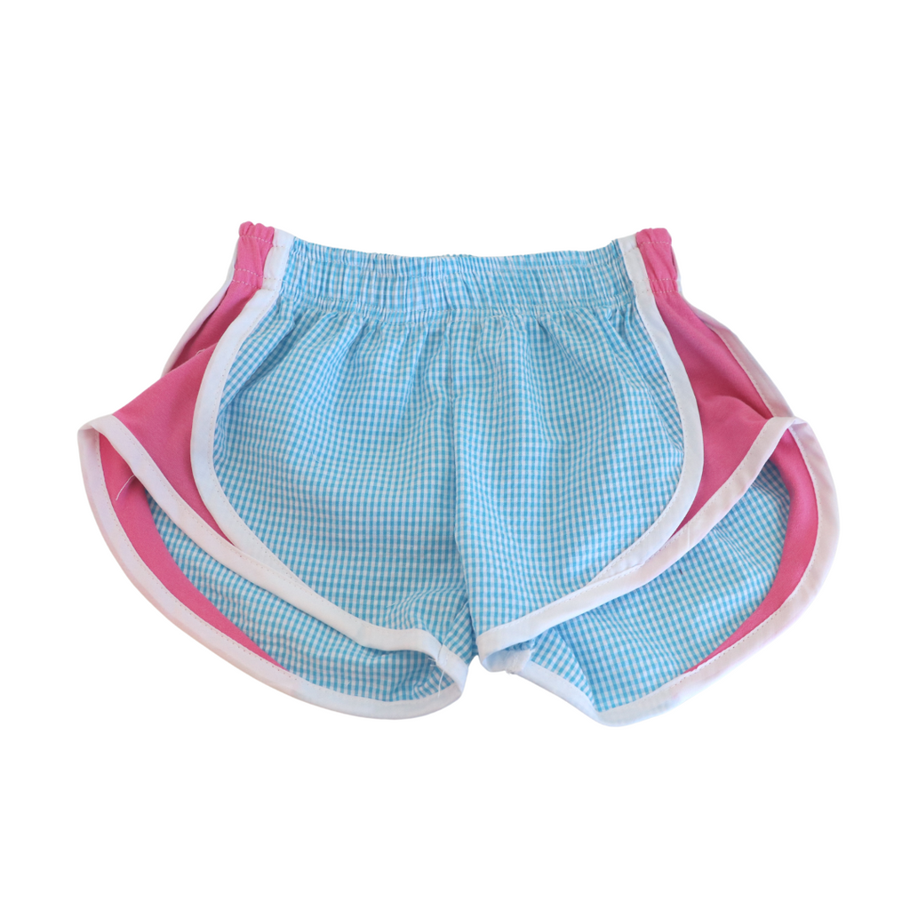 Athletic Shorts - Turquoise Check with Hot Pink Sides