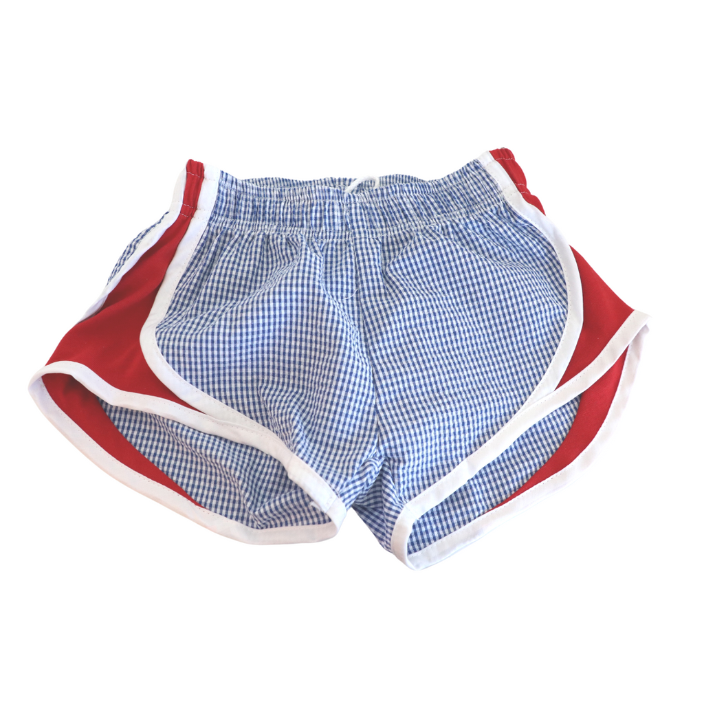 Athletic Shorts - Navy Check with Red Sides