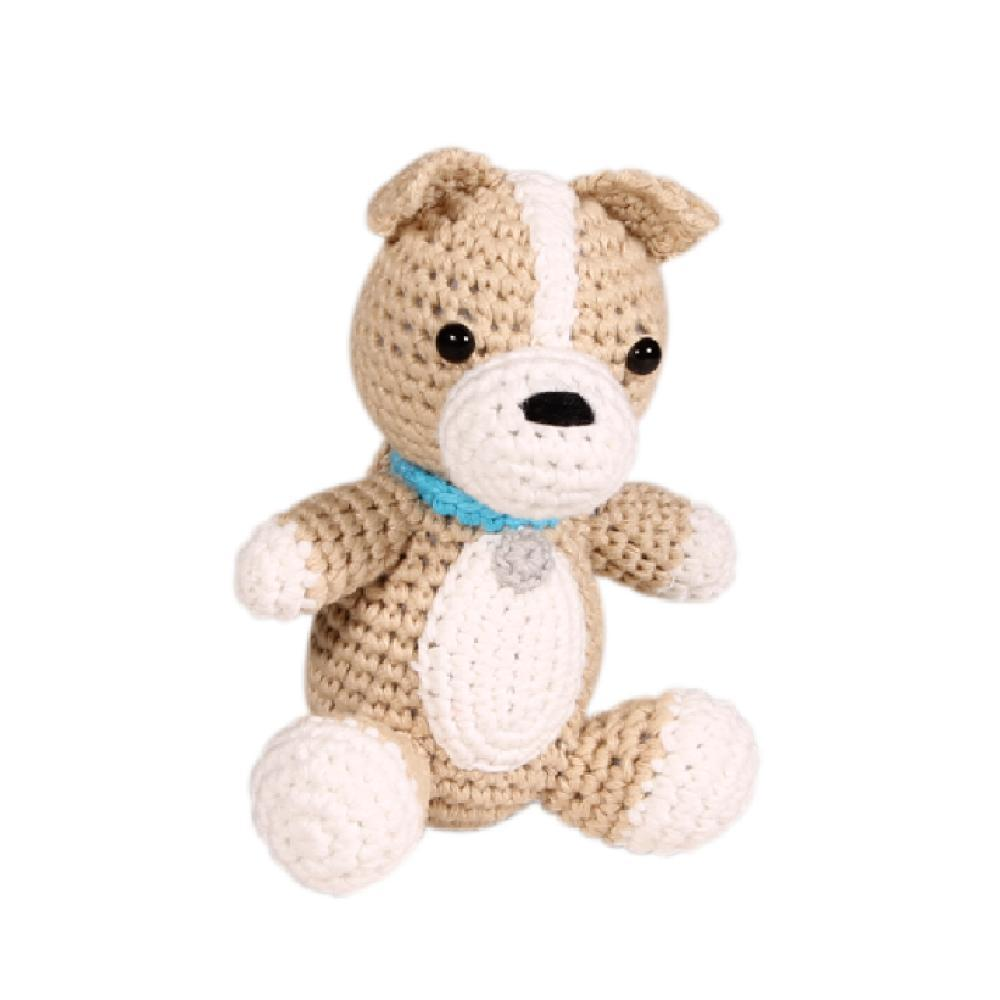 Zubels Dog Hand Crochet Natural Rattle Baby Toy