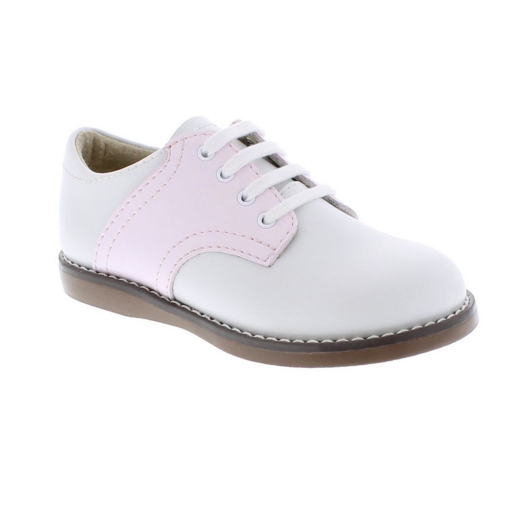 White and Pink Saddle Oxford shoes Footmates