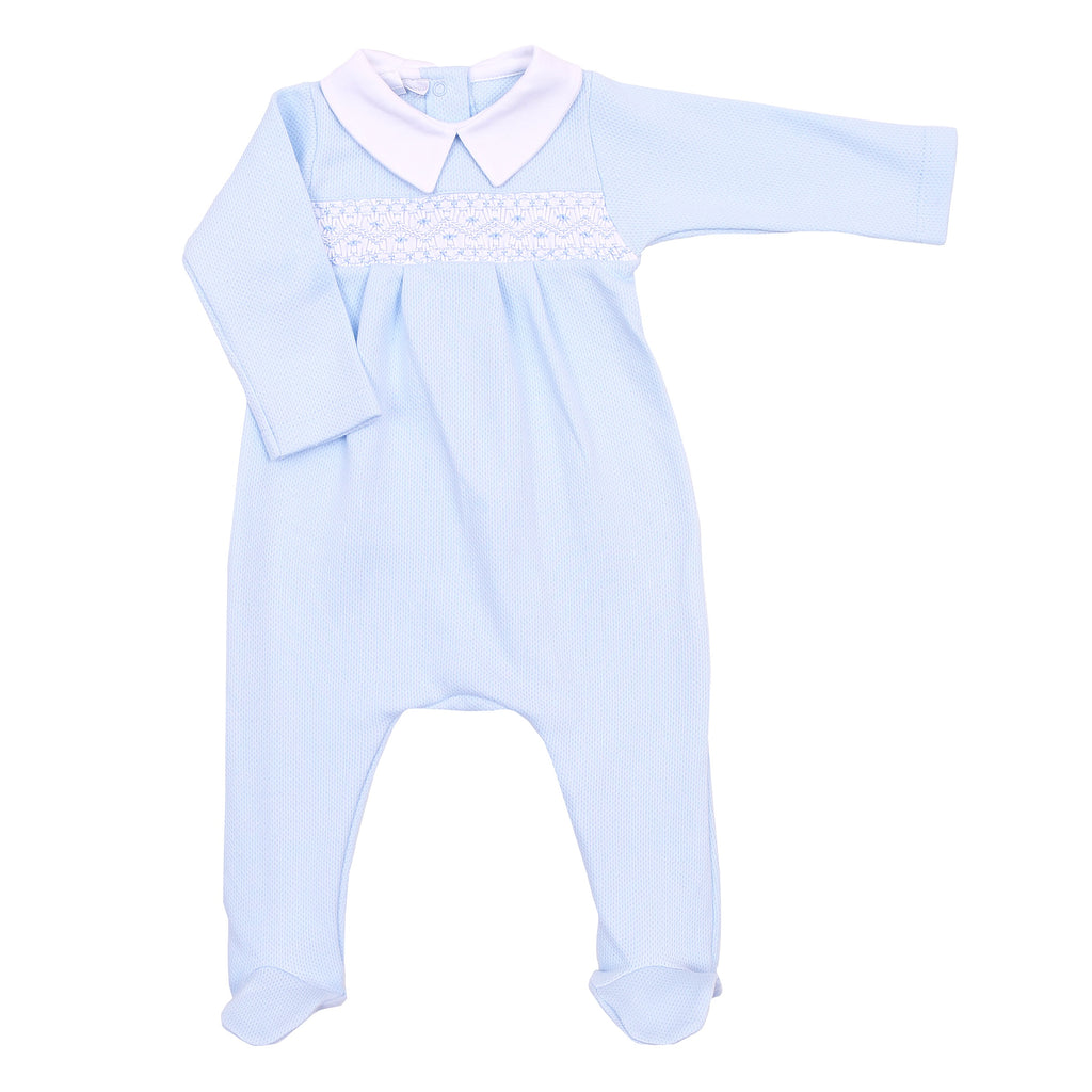 Blue Abby and Adam's Classics Smocked Footie