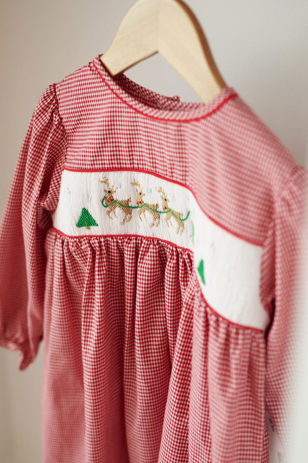 Smocked Reindeer & Sleigh Dress