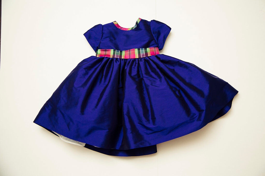 Periwinkle and Fuscia Plaid Party Dress