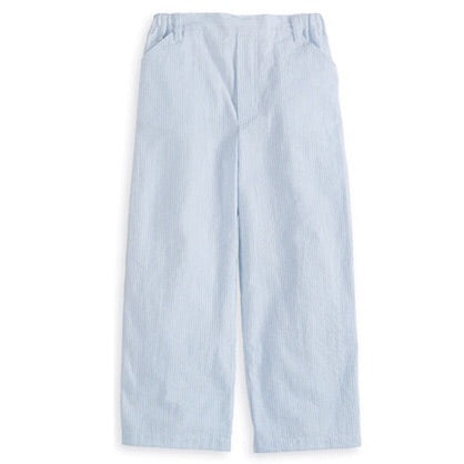 Blue Seersucker Faux Zip pant