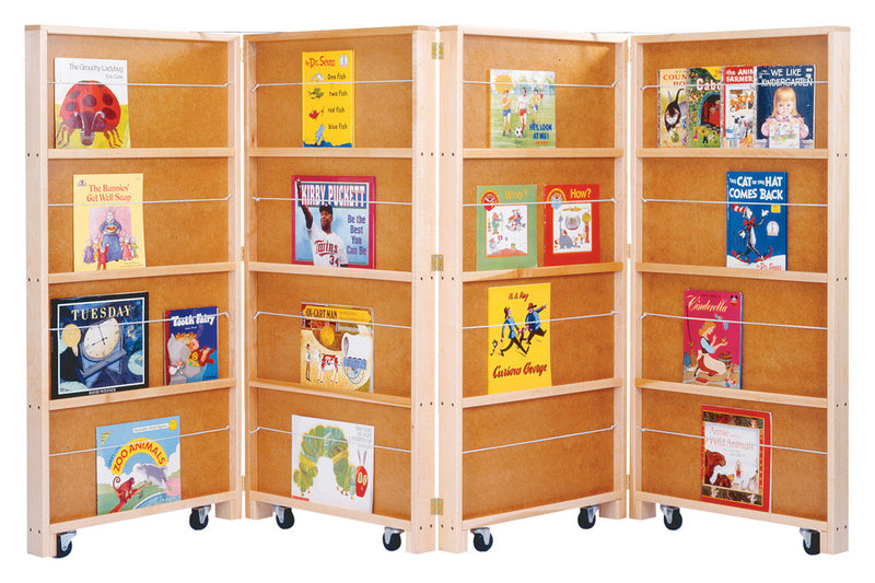 MOBILE LIBRARY BOOKCASE 4 SECTIONS