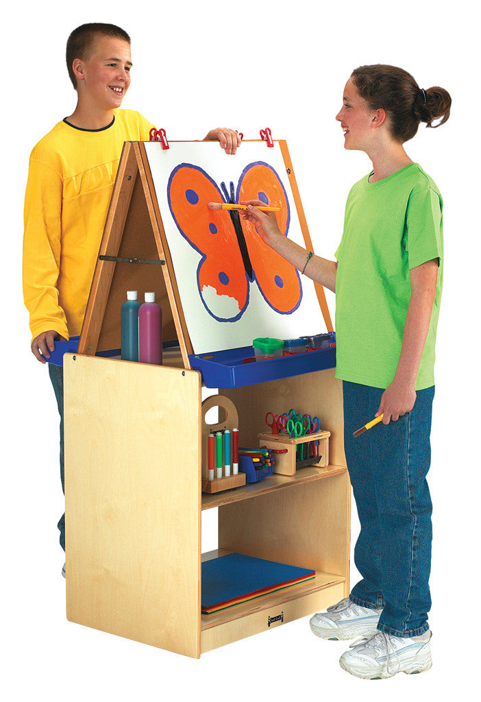 Two sided art easel with storage